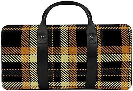 ブラックゴールドとイエローのハロウィンチェック柄1 旅行バッグナイロンハンドバッグ大容量軽量多機能荷物ポーチフィットネスバッグユニセックス旅行ビジネス通勤旅行スーツケースポーチ収納バッグ