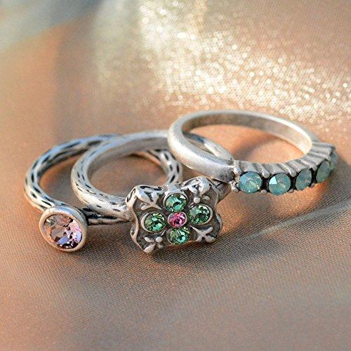 Sweet Romance Inspirational Silver Swarovski Crystal Boho Serenity Stack Rings - Set of 3 Stacking Rings (Size 9) by Sweet Romance (Image #2)