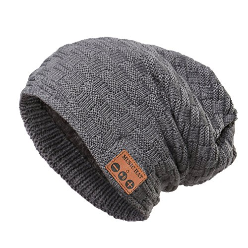 Knit Boys Beanie (Wireless Bluetooth Beanie Hat ,Unisex Outdoor Sport Knit Hat with Rechargeable Detachable Stereo Speakers & Microphone,Unique Christmas Tech Gifts for Teen Young Boys Girls Men Women(Mz028-grey))