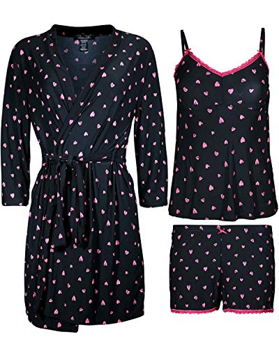 Rene Rofe Women\'s 3-Piece Pajama Set - Shorts, Cami and Robe, Black Hearts, Size Large' ()