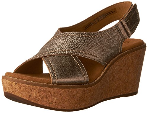 Clarks Women's Aisley Tulip Gold Metallic Leather (Leather Tulip)