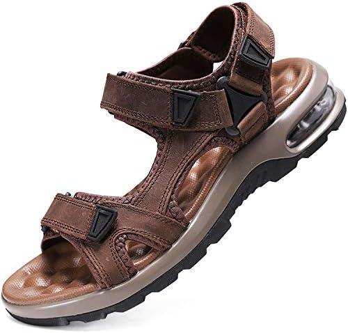 スポーツサンダル メンズ エアークッション 本革 幅広 マッサージ機能 人気サンダル ベルクロ 黒 厚底 かかとあり オフィス 歩きやすい 靴 アウトドア ビーチ 水陸両用 防臭防滑 24-28.5cm