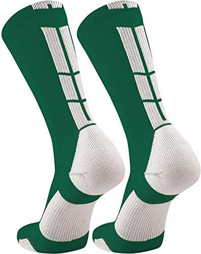 TCK Elite Performance Crew Socks (Dark Green/White, Large)