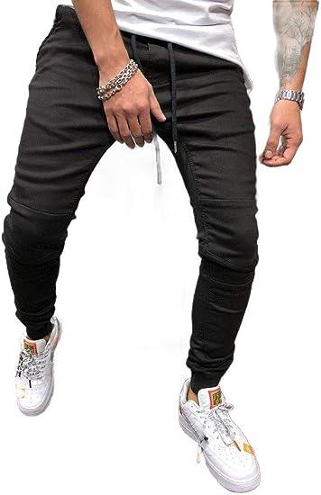 VITryst Men's Slim Fit Harem Stonewashed Patchwork Drawstring Denim Pants Jeans