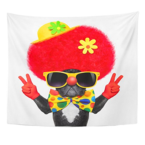 Emvency Tapestry Colorful Silly Dog Wearing Clown Costume Peace Victory Fingers Home Decor Wall Hanging for Living Room Bedroom Dorm 50x60 inches ()