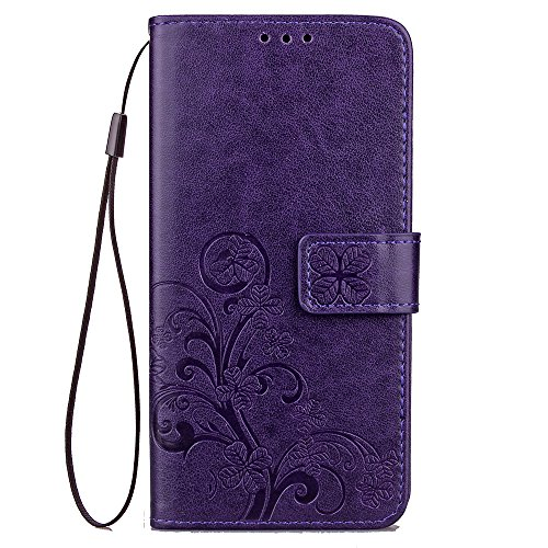 Detachable Pda Case - Leather Wallet Case for LG Q6,LG G6 mini Case,Ostop Embossed Flower Leaves Floral Pattern Shell,Magnetic Closure Flip Folio Cover with Card Slots,Kickstand and Detachable Wrist Strap-Purple