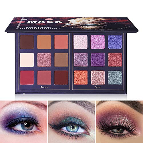Pro 18 Colors Fashion Eyeshadow Palette Makeup Highly Pigmented Shimmer and Matte Blendable Waterproof Long Lasting Eye Shadow Powder Creamy (Roam & Soar)