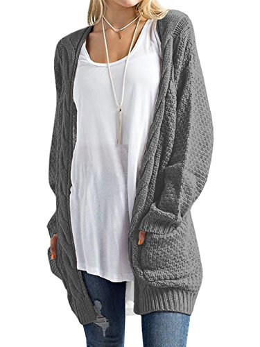 DYLH Women Long Cardigans Loop Knit Sweater Coat for Cuddling Gray