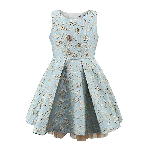 childdkivy Girls Princess Formal Party Dress for 2-3 Years Old Light Blue Size 3 - Party Jacquard Dress