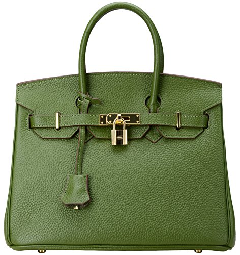 Cherish Kiss Genuine Leather Tote Office Ladies Handbags Satchel Padlock Bag 8830 (30CM, Green) by Cherish Kiss
