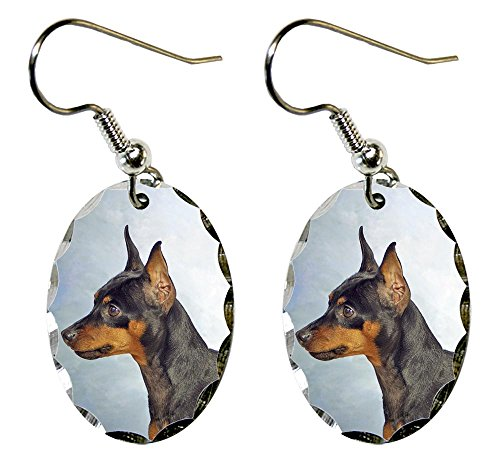 Canine Designs Miniature Pinscher Scalloped Edge Oval Earrings