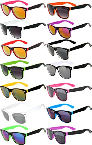 Wholesale Bulk Matte Colored Mirrored and Smoke Lens Sunglasses 14 pairs OWL