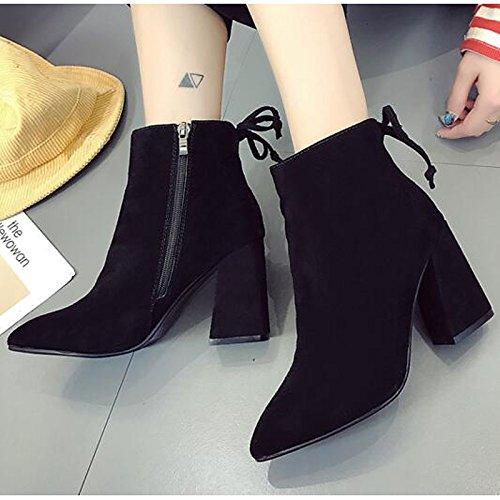 hsxz Boots mit ZHZNVX Schuhe Stiefelette Winter camel Stiefel Nubuk Chunky weiß schwarz mit Leder Damenschuhe BqxgwH1