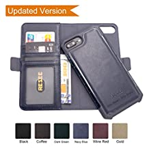 iPhone 8 Plus/7 Plus/6s +/6 Plus Wallet Leather Case[Detachable 2 in1 Cover], Resee Card Holder Magnetic Case, RFID Blocking, Shock Absorption Hard Cover- Navy Blue