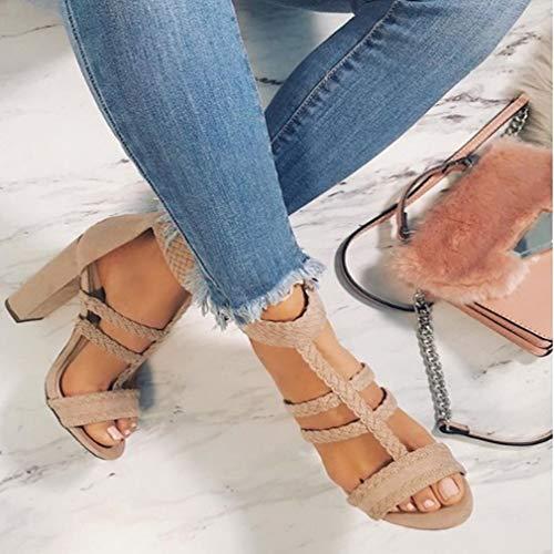 35 de Talón Gamuza Zapatos Alto Las Grueso Tacón Hebilla Colores Toe 3 Sandalias de Peep Verano de 43 de Beige Sandal Altas Tacones la con Plataforma Sandalias qxS0w8Rp