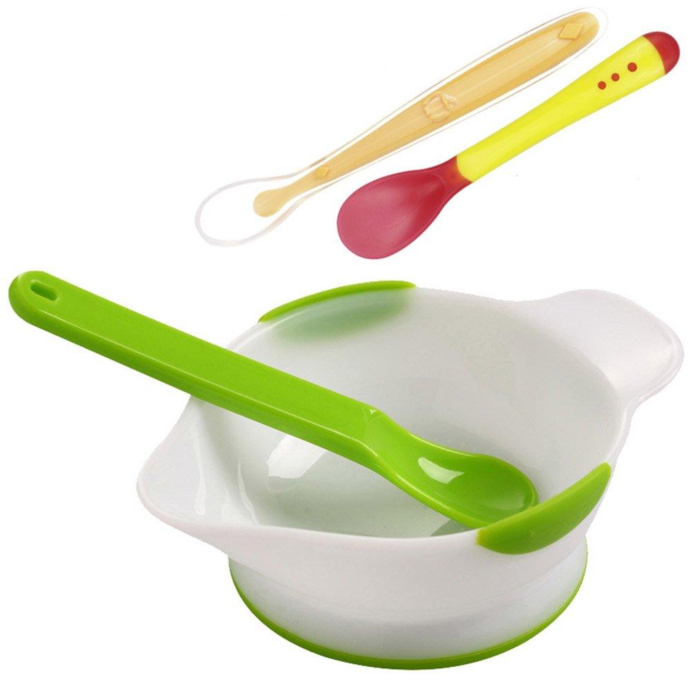FF Children's Tableware Set Newborn Baby Shatter-resistant Grinding Spoon Baby Infant Food Bowl (Color : B)