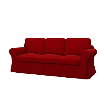 Soferia Replacement Cover For Ikea Ektorp 3 Seat Sofa Fabric Elegance Red
