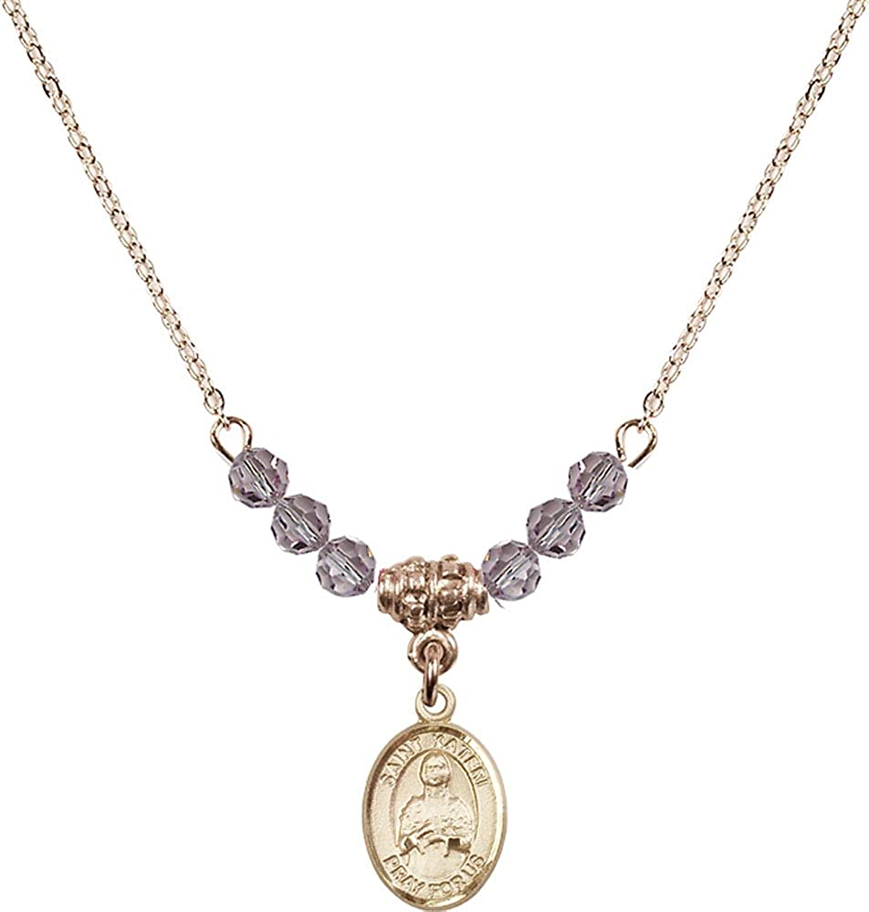 18-Inch Hamilton Gold Plated Necklace with 4mm Light Amethyst Birthstone Beads and Gold Filled Saint Kateri Tekakwitha Charm.