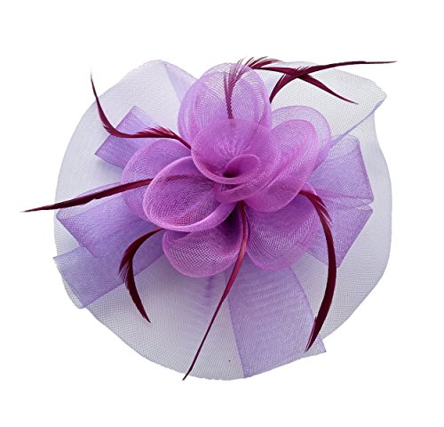 Fascinator Hair Clip Headband Feather Flower Pillbox Hat Cocktail Tea Party A Purple Derby Music Box