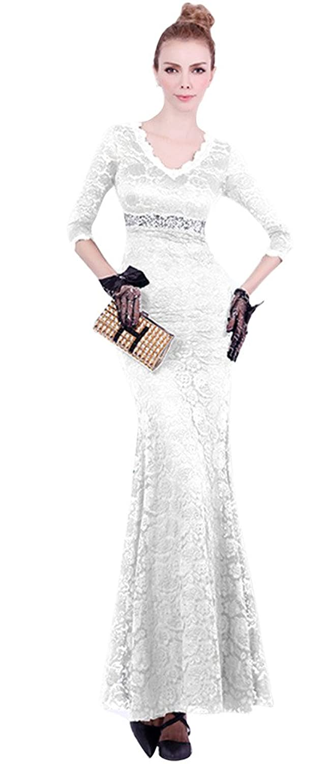Vimans? Girl's Long Sexy White Lace Mermaid V Neck Gowns for Wedding Party