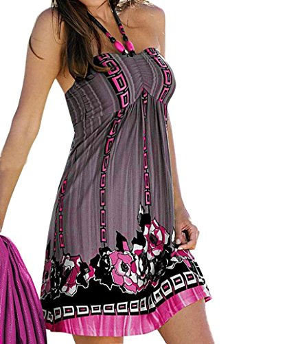Elevin(TM)Women Sexy Boho Floral Printed Gallus Sleeveless Short Mini Evening Beach Dress (L, Grey)