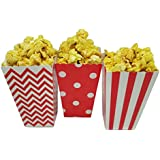 JCX Paper Popcorn Bags, Mini Movie Theater Party Paper Bags, 36 Pieces (Red)