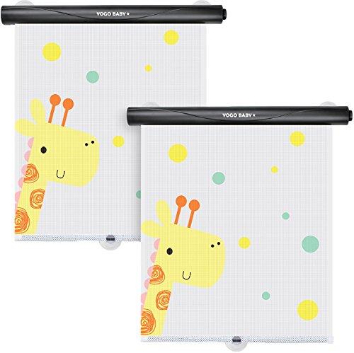 (Car Roller Sunshade Deluxe Set of 2 Kids Giraffe Retractable Car Window Sunshade Black Roller for Neat Look When not in use Blocks Sun & Keeps Car Cool)