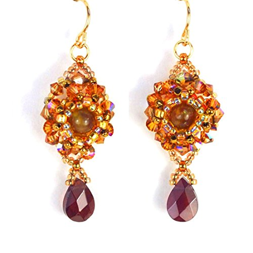 Natural Garnet Earrings with Cat's Eye Apatite, Artisan Crafted in 14K Gold Filled Elegant Handcrafted Garnet Pendant