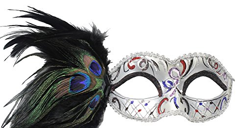 RedSkyTrader Womens Party Mask with Peacock Feathers One Size Fits Most Silver
