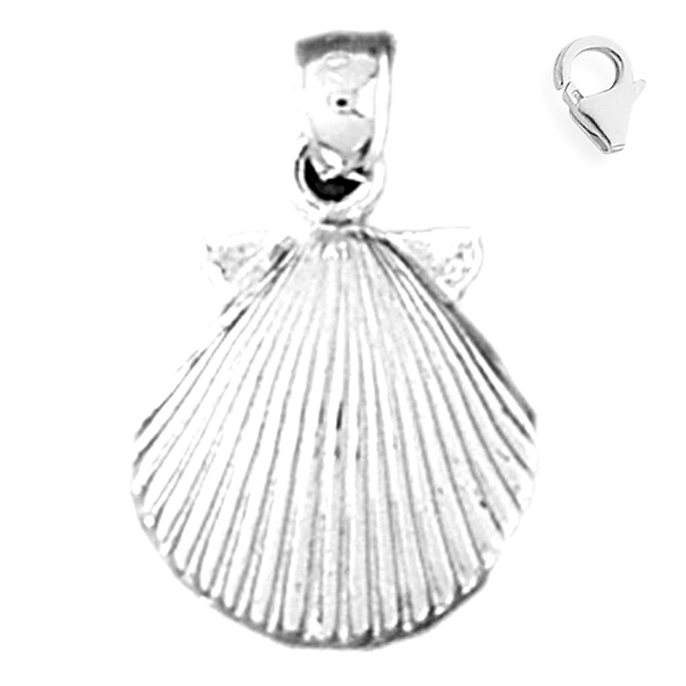 Jewels Obsession Sea Shell Pendant Sterling Silver 20mm Sea Shell with 7.5 Charm Bracelet