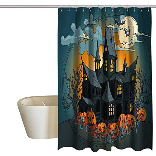 homecoco Halloween Decorations Floral Shower Curtain Medieval Haunted House with Garden Full of Pumpkins and Dark Night Single stall Shower Curtain W72 x L72 Orange Teal -