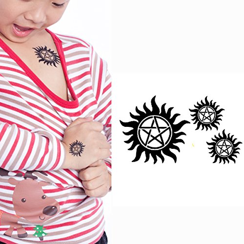 Easy Halloween College Costumes Guys (Yeeech Supernatural Merchandise Anti Possession Pentagram Sun Circle Star Designs Dark Mark Temporary Tattoos Sticker Black for Kids Family Small (2 Sheets))