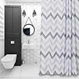 White and Grey Curtains Chevron Shower Curtain Grey and White Striped Mildew Resistant Fabric Shower Curtain for Bathroom ,Washable Stall Size(72x72 Inc)