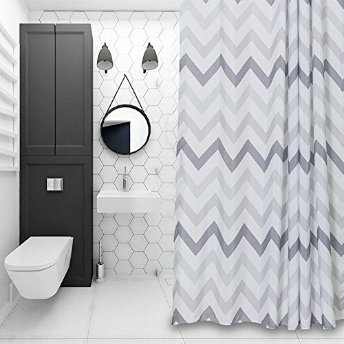 Chevron Fabric Shower Curtain Grey,White,Striped Mold Resistant 72
