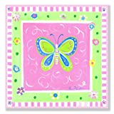 The Kids Room by Stupell Green Butterfly with Pink Border Square Wall Plaque