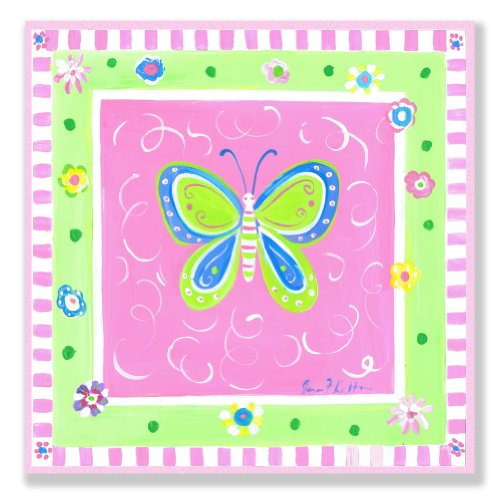 The Kids Room by Stupell Green Butterfly with Pink Border Square Wall Plaque by The Kids Room by Stupell