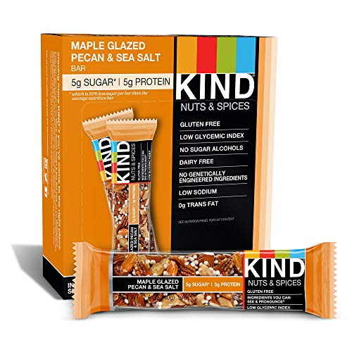 KIND Bars, Maple Glazed Pecan & Sea Salt, Gluten Free, Low Sugar, 1.4 Ounce Bars, 12 Count (Packaging May Vary)