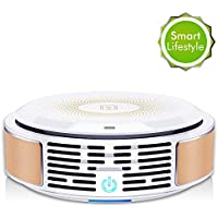 Air Purifier with True HEPA Filter - 3 Stage Filtration Air Cleaner Eliminates Dust, Pollen, Pet Dander, Smoke, Mold Spores, Touch Operation & Air Quality Indication, Ideal for Home Room, Pet Owner