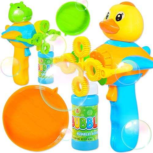 Nivalkid Children's Cartoon Hand-held Automatic Electric Four-hole Blowing Bubble Toy Casual Traditional Toy Children's Water Toys Educational Toys Development Intelligence Toys (Colorful)