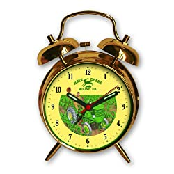 John Deere 4 Inch Twin Bell Alarm Clock, Scenic Clock in Antique Gold Finish