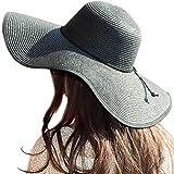 Womens Big Bowknot Straw Hat Floppy Foldable Roll up Beach Cap Sun Hat UPF 50+ (A Black 5.9' Brim)