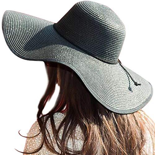 Womens Big Bowknot Straw Hat Floppy Foldable Roll up Beach Cap Sun Hat UPF 50+ (Wide Brim Black Hat Women)