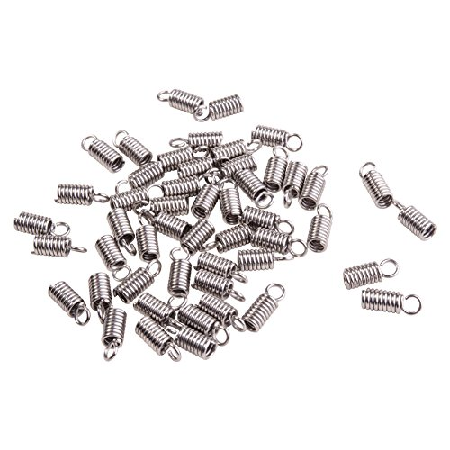 Pandahall 50pcs 304 Stainless Steel Tube Coil Cord Ends Cord Cap Tip Leather Cord Ends Caps Necklace Spring Fastener Crimp Clasp Jewelry Making ()