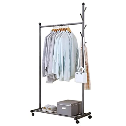 Amazon.com: Coat Stand Hanger Floor Mobile Drying Clothes ...