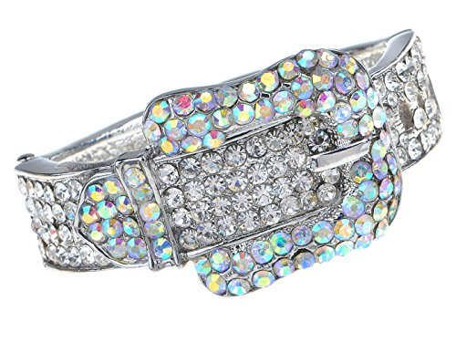(Alilang Silvery Tone Iridescent Clear Crystal Colored Rhinestones Belt Buckle Cuff Bracelet)