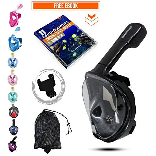 Mask To (Trax To Tracks TTT20 Ocean Full Face Snorkel-Dive Mask provides Anti Fog Snorkeling-this Recreation Dry Snorkel Set comes with Snorkel Bag-Black- SM- for Adults Youth Kids Children)