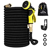 "Garden Hose, [ 2019 New Upgraded ] , 50 /100 ft Expandable Garden Hose,Expanding Water Hose,Lightweight Garden Water Hose with 3/4"" Solid Brass Fittings, 9 Function Spray Nozzle Expanding Garden Hoses,Durable Outdoor Gardening Flexible Hose (Black,50FT + Nozzle + Hanger)"