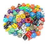 100+ Pack of Random Polyhedral Dice in Multiple Colors | At Least 15 Complete Sets | 4 Sided, 6 Sided, 8 Sided, 10 Sided, 12 Sided, 20 Sided and Percentile Dice Included |At Least 15 Color | Large Durable Velvet & Satin Dice Bag Included