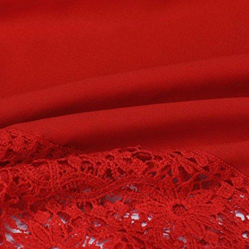 Rouge Fille Manche Elegante Loose Blouses Kingwo longue Chemisier Femmes Dentelle Mode O4v00q