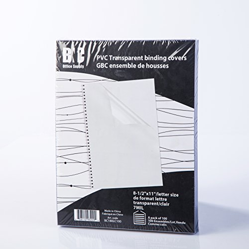 BNC 7 Mil 8-1/2 x 11 Inches, Letter Size PVC Binding Covers - Pack of 100, Clear (BC180LC100)